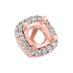 Diamond Halo Head in Rose Gold to Hold .75 ct. Cushion Cut Stone