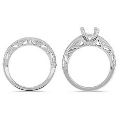 Vintage Pavé-Set Round Diamond Wedding Set in Platinum