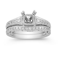 Vintage Pave-Set Round Diamond Wedding Set in Platinum