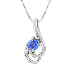 Round Kentucky Blue Sapphire and Diamond Pendant (18)