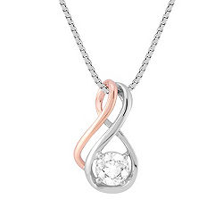 Round White Sapphire Pendant in 14k White and Rose Gold (18)