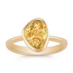 Freeform Yellow Sapphire and Diamond Ring