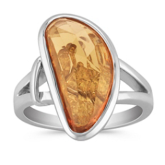 Freeform Orange Sapphire, Princess Cut and Marquise Diamond Ring