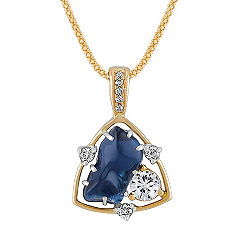 Freeform Sapphire, Round White Sapphire and Diamond Pendant in Two-Tone Gold (22)