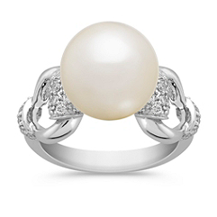 10mm Cultured Freshwater Pearl and Round Diamond Ring