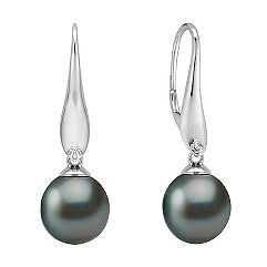 10mm Cultured Tahitian Pearl and Diamond Earrings