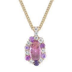 Freeform Pink Sapphire, Round Lavender Sapphire, and Diamond Pendant (18 in.)