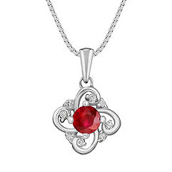 Round Ruby and Diamond Pendant (18)