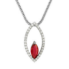 Marquise Ruby and Round Diamond Pendant (18 in.)