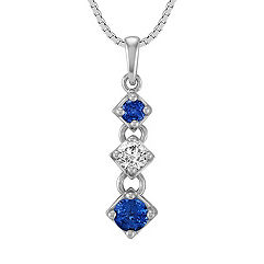 Round Sapphire and Diamond Three-Stone Pendant (18)