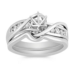 Swirl Over Channel Set Diamond Wedding Set with Channel Setting