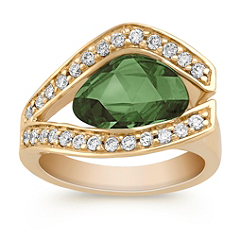 Freeform Fancy Green Sapphire and Round Diamond Ring