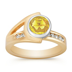 Round Yellow Sapphire and Diamond Ring in Two-Tone Gold