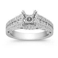 Vintage Cathedral Diamond Engagement Ring with Pave- and Channel Setting