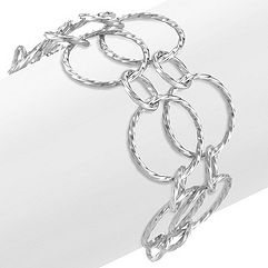 Double Sterling Silver Circle Bracelet (8 in.)