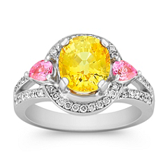 Oval Yellow Sapphire, Pear Shaped Pink Sapphire, and Round Diamond Ring