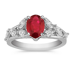 Oval Ruby and Marquise Diamond Ring