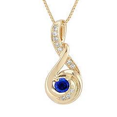 Round Sapphire and Diamond Pendant (18)