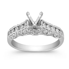 Round Diamond Cathedral Engagement Ring with Scalloped Edges