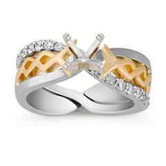 Diamond Two-Tone Wedding Set with Pave Setting