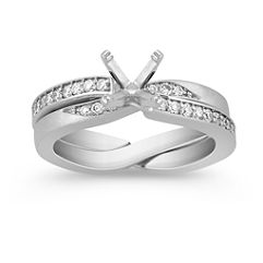 Round Diamond Wedding Set with Pave Setting