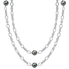 9mm Cultured Tahitian Pearl and Sterling Silver Necklace (36)
