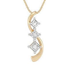 Princess Cut Diamond Three-Stone Pendant (18 in.)