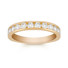 Twelve Stone Round Diamond Wedding Band in Yellow Gold with Channel Setting