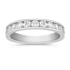 Twelve Stone Round Diamond Wedding Band in White Gold with Channel Setting