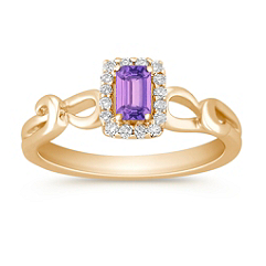 Emerald Cut Lavender Sapphire and Round Diamond Ring