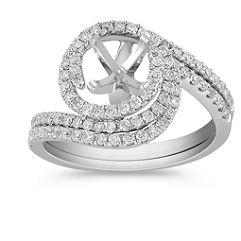 Diamond Spiral Wedding Set with Pavé Setting