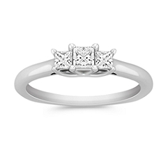 Petite Three-Stone Princess Cut Diamond Ring
