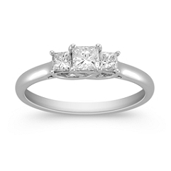 Princess Cut Diamond Three-Stone Ring -3/4 ct. t.w.