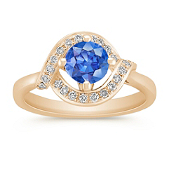 Round Kentucky Blue Sapphire and Diamond Ring