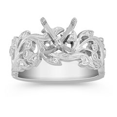 Vine Patterned Engagement Ring with Round Diamonds