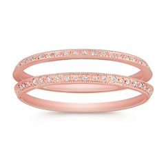 Vintage Diamond Double Wedding Band in Rose Gold