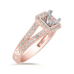 Split Shank Halo Diamond Rose Gold Engagement Ring with Pavé-Setting