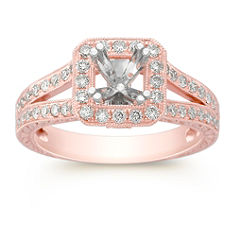 Split Shank Halo Diamond Rose Gold Engagement Ring with Pave-Setting