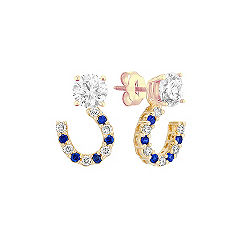 Round Sapphire and Diamond Earring Jackets