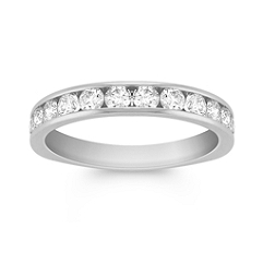 Round Diamond Wedding Band in Platinum - 3/4 ct. t.w.