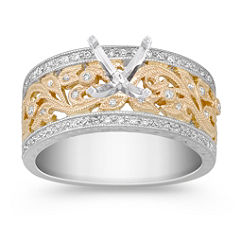 Vintage Diamond Two-Tone Engagement Ring with Pave Setting