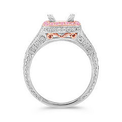 Halo Pink Sapphire and Diamond Platinum and 14k Rose Gold Engagement Ring