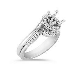 Halo Swirl Diamond Wedding Set with Pavé Setting