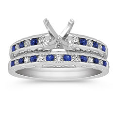 Vintage Sapphire and Diamond Wedding Set with Channel Setting