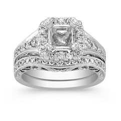 Halo Vintage Diamond Wedding Set with Pave Setting