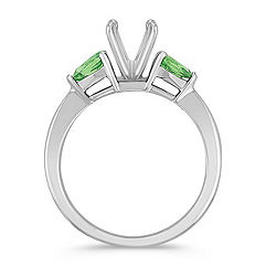 Three-Stone Pear Shaped Green Sapphire Engagement Ring