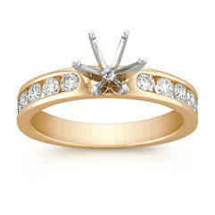 Classic Round Diamond Engagement Ring with Channel Setting