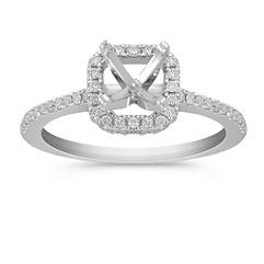 Cushion Halo Platinum Engagement Ring with Pave-Set Diamonds