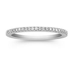 Platinum Diamond Wedding Band with Pave Setting