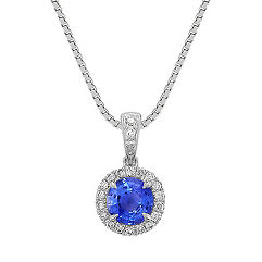 Round Kentucky Blue Sapphire and Diamond Pendant (18)